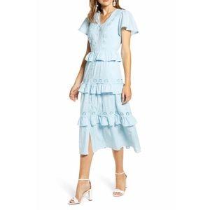 Rachel Parcell Swiss Dot Tier Midi Ruffle Dress